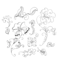 set of doodle flowers vector image vector image