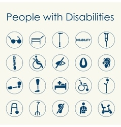 Set of people with disabilities simple icons vector