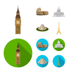 Sights of different countries cartoonflat icons vector