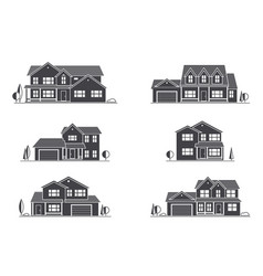 silhouette suburban american house vector image