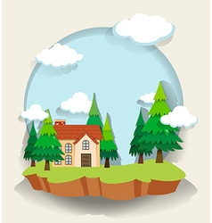 Single house in the forest vector image