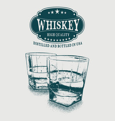 sketch whiskey logo and two glasses of beverage vector image