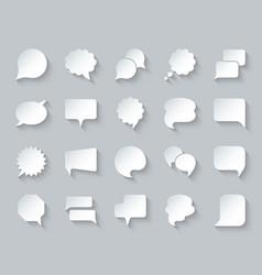 speech bubble simple paper cut icons set vector image