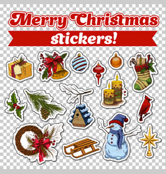 stickers for 2018 new year card or christmas eve vector image