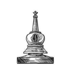 Stupa shrine buddhism religion symbol sketch vector