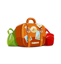 Suitcase and bag for travel vector