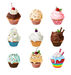 sweet cupcakes realistic homemade desserts vector image