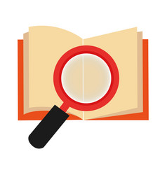 textbook with magnifying glass library isolated vector image