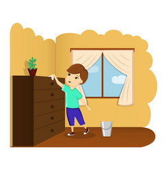 the child removes the house the child helps a vector image