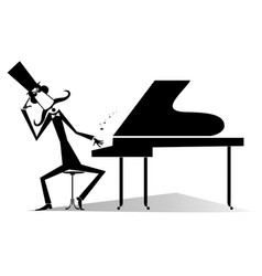 Thinking pianist or composer and piano vector