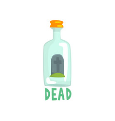 Tombstone on the bottom of giant alcohol bottle vector