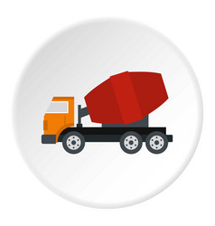 truck concrete mixer icon circle vector image