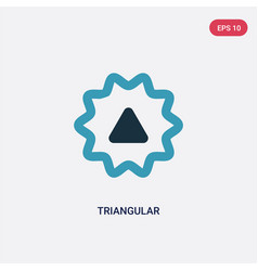 Two color triangular icon from user interface vector