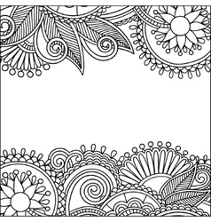 Vintage floral ornamental black and white card vector