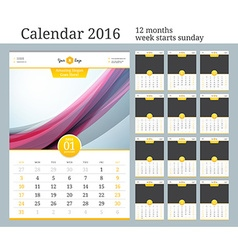 Wall Calendar 2016 Template with Place for Photo vector