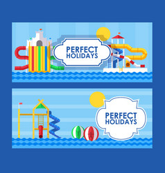 water park banner in flat style vector image
