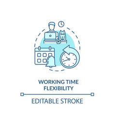 Working time flexibility turquoise concept icon vector