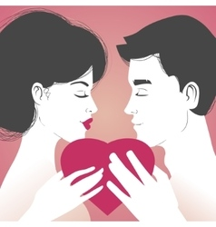 Young couple with heart on pink background vector image