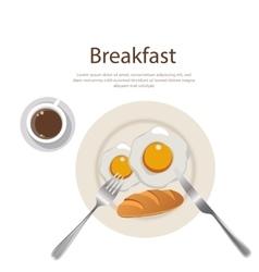 Breakfast menu egg yolk with bread and cofee on vector