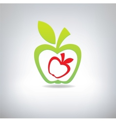 Green and red apple on a grey background vector image