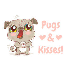 pugs and kisses vector image vector image