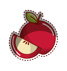 sticker red apple fruit icon stock vector image vector image