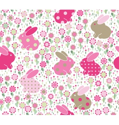 rabbits flowers vector image vector image