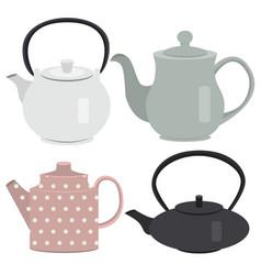 set of icon tea pots vector image vector image