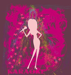 Silhouette of a female singer performing vector