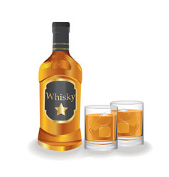 bottle and lass with whiskey vector image vector image