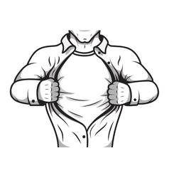 Comic hero opening shirt vector image