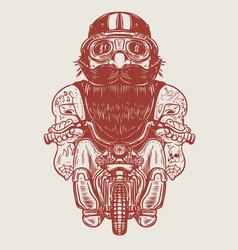 funny biker caricature racer on little motorcycle vector image