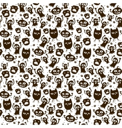 Halloween background Black and white seamless vector image