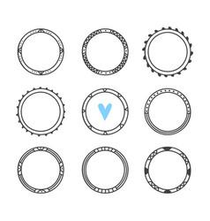 Set of 9 hand drawn frames cute circle wreaths vector