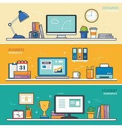 set of thin line flat design workspace designer vector image