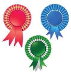 blank award ribbon rosette for winner isolated on vector image vector image