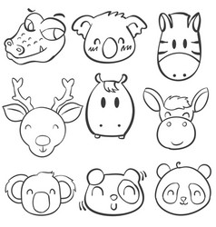 collection stock animal head hand draw vector image vector image