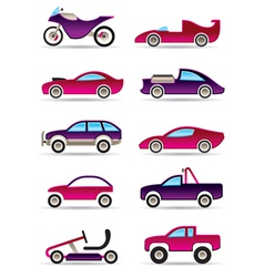 Racing cars motorcycles and off roads vector image vector image