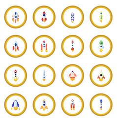 rocket icon circle vector image
