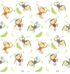 seamless pattern monkey vector image vector image