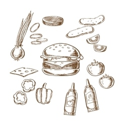 Sketch of tasty burger with many ingredients vector image