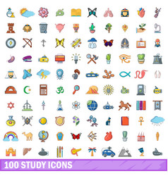 100 study icons set cartoon style vector
