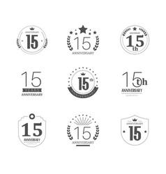 15 years anniversary logo set 15th anniversary vector