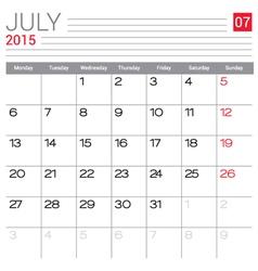 2015 July calendar page vector