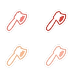 Assembly stickers bloody ax on a white background vector