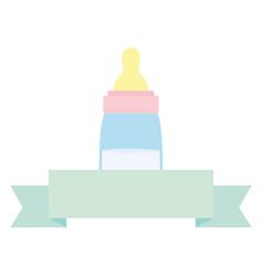 babottle milk with ribbon frame vector image