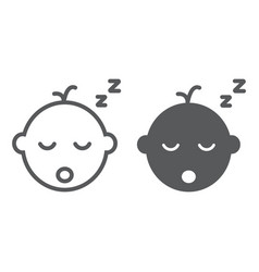 Baby boy sleep line and glyph icon vector