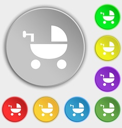 Baby Stroller icon sign Symbol on eight flat vector
