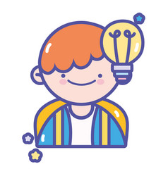 back to school student boy creativity idea vector image