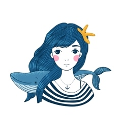Beautiful young girl sailor with a whale and star vector image